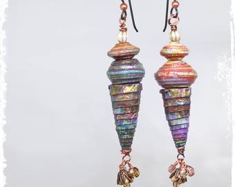 Funky Tribal Earrings, Ethnic Earrings, Dangle Earrings, Cone Earrings, Multicolor Paper Bead Earrings, OOAK One of a Kind Jewelry