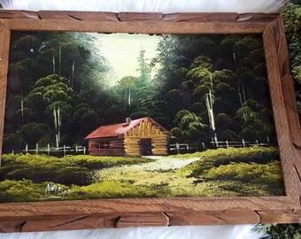 VTG Velvet Painted Barn, Cabin, Made in Mexico