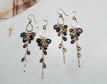 Watermelon Tourmaline Dangle, Tourmaline Hoop Earrings, Long Gemstone Dangle, Pink Green Gemstone Cluster:  Ready Made