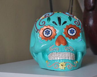 Hand-painted Day of the Dead Skull