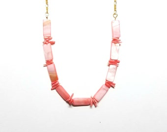 Pink Shell and Chain Necklace