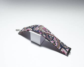 Purple and pink Paisley fabric bracelet