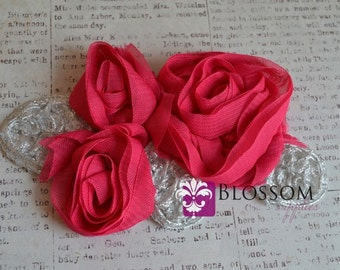 Flower Appliques - HOT PINK - The Grace Collection - Triple Chiffon Flowers with Silver Leaves - DIY Headbands - Bridal Applique Wholesale