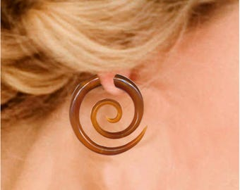 Fake Gauges, Large Amber Spiral Earrings, Fake Gauge Earrings, Rare Caramel Horn, Tribal Earrings, Fake Piercing,  Fake Plugs, SA4