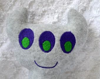 Handmade Stuffed Gray Horned Monster - Fleece, Child Friendly machine washable softie plush