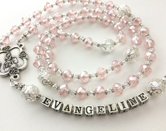 Pink Crystal Rosary, Girl's Communion Rosary, Personalized Rosary, Girl's Confirmation Rosary, Girl's Baptism Gift, Catholic Rosary Beads
