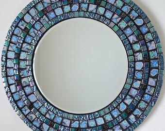 Beautiful Handmade Mosaic Mirror Bevelled Edge Glass Green/Blue  Mosaic Tile