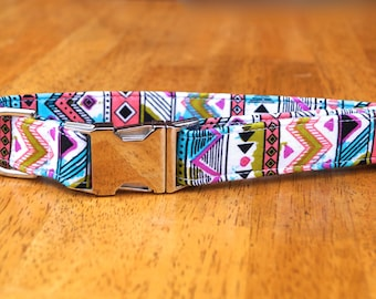 Dog Collar - Aztec Dog Collar - Tribal Dog Collar - Fabric Dog Collar - Girl Dog Collar - Female Dog Collar - Unique Dog Collars - Dog Stuff