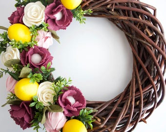Lemon wood wreath, felt flower wreath, lemon felt flower wreath