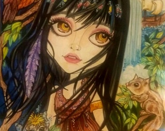 Fairytale Fantasy Tiger Lily In Neverland Art Print by Leslie Mehl Art