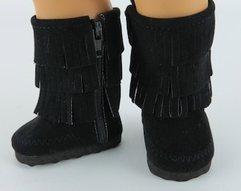 Doll Boots Made to fit AMERICAN GIRL DOLLS, Black Fringe Faux Suede Boots Fit American Girl Dolls