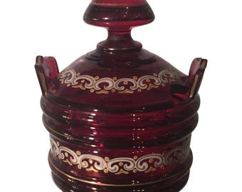 Unusual Antique Red Bohemian Covered Jar