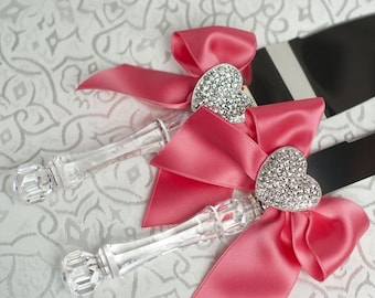 Crystal Heart Ribbon Cake Server Set with Custom Colors - Custom Engraving Available - 550300