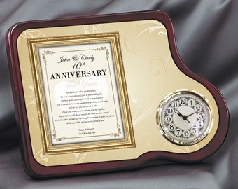 Item Apgc-frg Daughter Or Son Anniversary Gift Mahogany Poetry Floral Clock