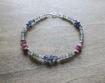 grey labradorite/ pink tourmaline/ purple lolite sterling sliver bracelet