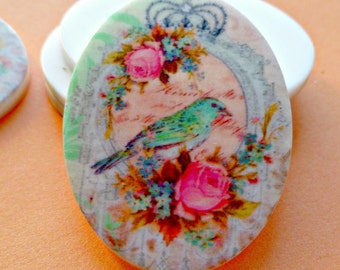 Plastic Cabochons - Two 40x30mm Romantic Bird and Roses Cabs (1-23-2)