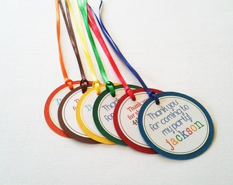 Boy Birthday Tags - Rainbow Tags - Primary Color Tags - Birthday Tags - Set of 10 Tags - Hootsie