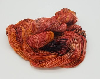 Hand Dyed Superwash Merino Wool Nylon DKYarn - Pheonix, indie dyed yarn, dyed DK yarn, yarn, self striping yarn