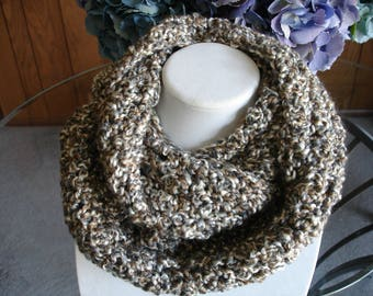 Gray/Tan/White Cowl Scarf, Infinity Scarf, Crocheted Scarf, Winter Scarf