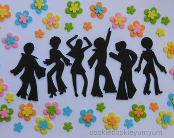 6 dancing edible DISCO People & 40 FUNKY FLOWERS hippy cake topper 70's dancer cupcake wedding topper decoration wedding anniversary