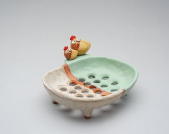Soap dish , handmade ceramic , little Chicken , hen , family , Mother , dauther