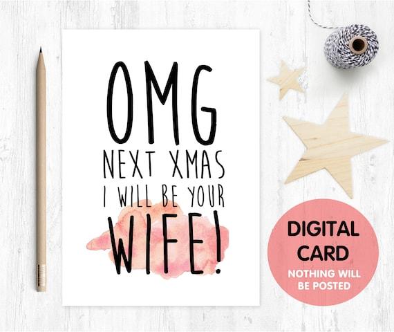 PRINTABLE fiance christmas card, next christmas I'll be your wife, funny fiance christmas card, last christmas as miss