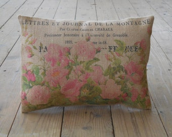 Vintage Roses Burlap Pillow, Shabby Chic 41,  Mothers Day Gift, INSERT INCLUDED