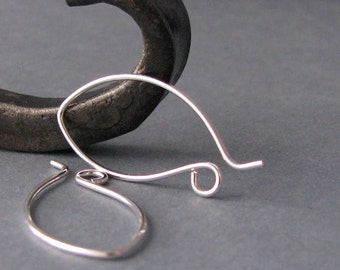 Handmade Ear Wires, Silver Filled Pixie Hoops, Artsian Jewelry Findings, 3 pairs