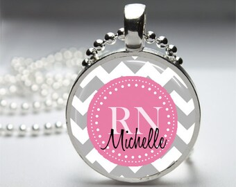 Personalized Nurse Pendant Chevron Print - Round Pendant Necklace with Silver Ball or Snake Chain or Key Ring