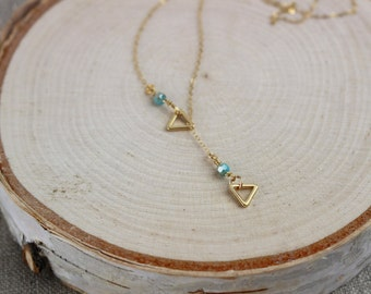 Triangle Necklace/Long Necklace/Lariat Necklace/Y Necklace
