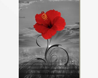 Black White Red Wall Picture, Red Flower Print, Red Gray Coastal Floral Sunset Bathroom Bedroom Red Artwork