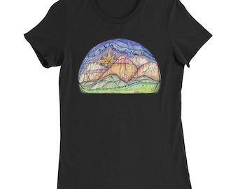 Red Rock Canyon Woman T-Shirt / National Park Shirt / Rock Climbing Shirt / Mountain Art Shirt / Hiking Shirt / Gift for Climbers