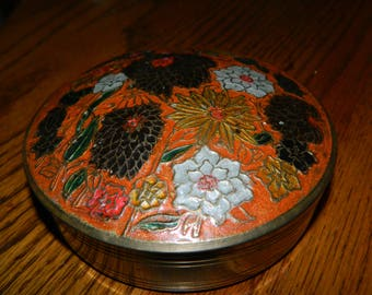 Vintage Round 2 Pc. Brass Container w/Patina~Nice Old Orange Box~A Green~White~Yellow Floral Box to Keep Trinkets~Coins or Your Jewelry In~