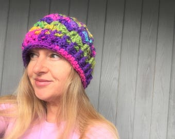 Seashell Magic Swirl Crochet Hat - Handmade Colorful Bulky Chunky Knit Hat