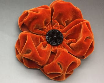Large Deep Orange  Velvet Puffy Flower Applique