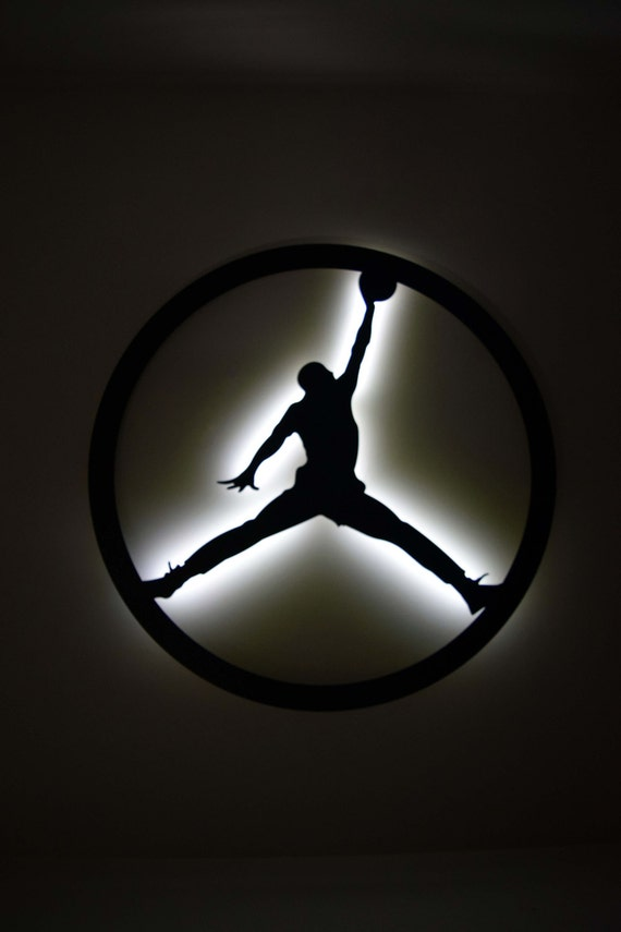 Circle Jump Man Logo Led Backlit Floating Metal Wall Art
