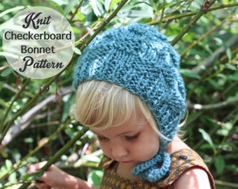 Knit Baby Bonnet Pattern, Checkerboard Knit, Chunky Knit Pattern, Circular Knitting Pattern, Baby Girl and Boy Knit Hat