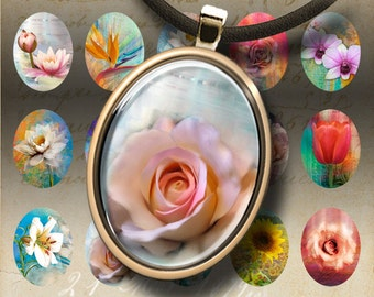 Oval 30x40 mm Images MON PETIT JARDIN Digital Collage Sheet printable download for pendants magnets bezel plate findings craft projects