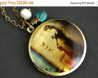 MOTHERS DAY SALE Provocative Woman Locket Necklace. 1920s Vintage Woman Necklace with Bright Turquoise Teardrop and Fresh Water Pearl. Bronz