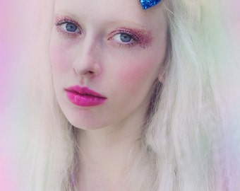 Royal Blue Glitter Hair Bow, Perrie from Little Mix Hair Bow, Sparkly Hair Bow, Party Bow, Cute Hair Accessory