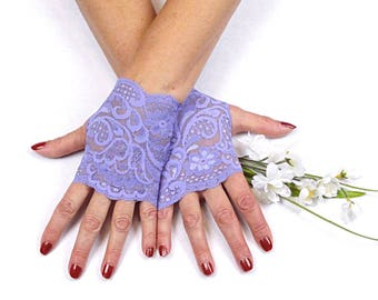 Lavender Lace Gloves   - Lavender Fingerless Gloves - Lavender Gloves  - Purple Lace Gloves - Lavender Bridesmaid Gloves