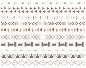 "Tribal Ribbon Set ""TRIBAL BORDERS"" Clipart, Aztec Patterns, Ethnic Borders, Native American Borders. 13 images Png files 300 dpi. Trb006"
