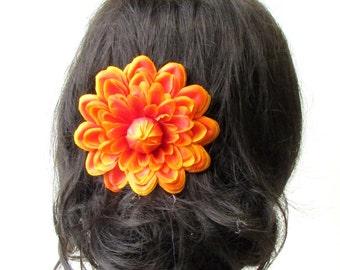 Large Orange Dahlia Flower Hair Comb Bridesmaid Big Rose Rockabilly 1950s 1733