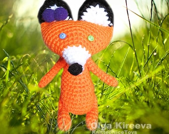 Stuffed Knit Fox Crochet Fox Toy Knitted Toy and Doll Red Fox Knitted Toy Stuffed Soft toy fox for Children Daughter Sister