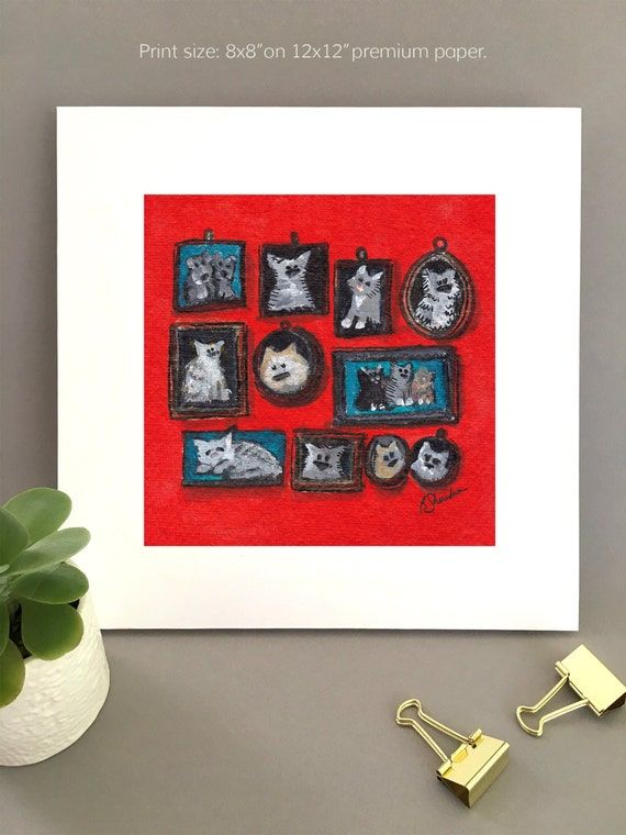 Pet lover portraits painting, whimsical art, great for animal lovers art, art for my house FREE Shipping