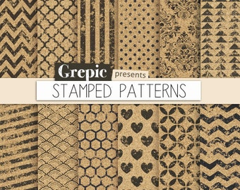 "SALE 50% Grunge digital paper: ""STAMPED PATTERNS"" with stamped polkadots, chevron, stripes, black ink patterns on cork backgrounds"