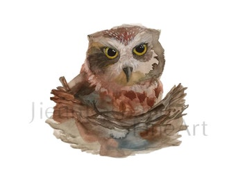 "Baby Owl- ""Instant Download"", 8x10, Original watercolor paint by Jieun Rasband, Printable Art, Nursury decor, animal print"