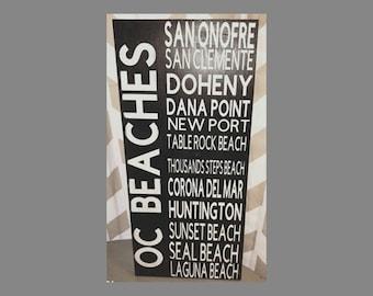 OC Beach Name Subway Art Wood Sign