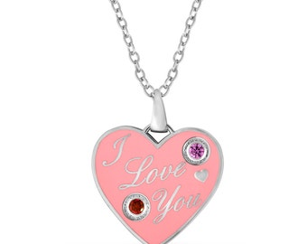 I love You Heart Pendant With Two Personalized Birthstones In Brass And Pink Enamel