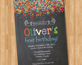 Confetti birthday invitation bright colorful boy or girl confetti birthday invitation bright colorful boy or girl birthday party invite chalkboard kids bday filmwisefo